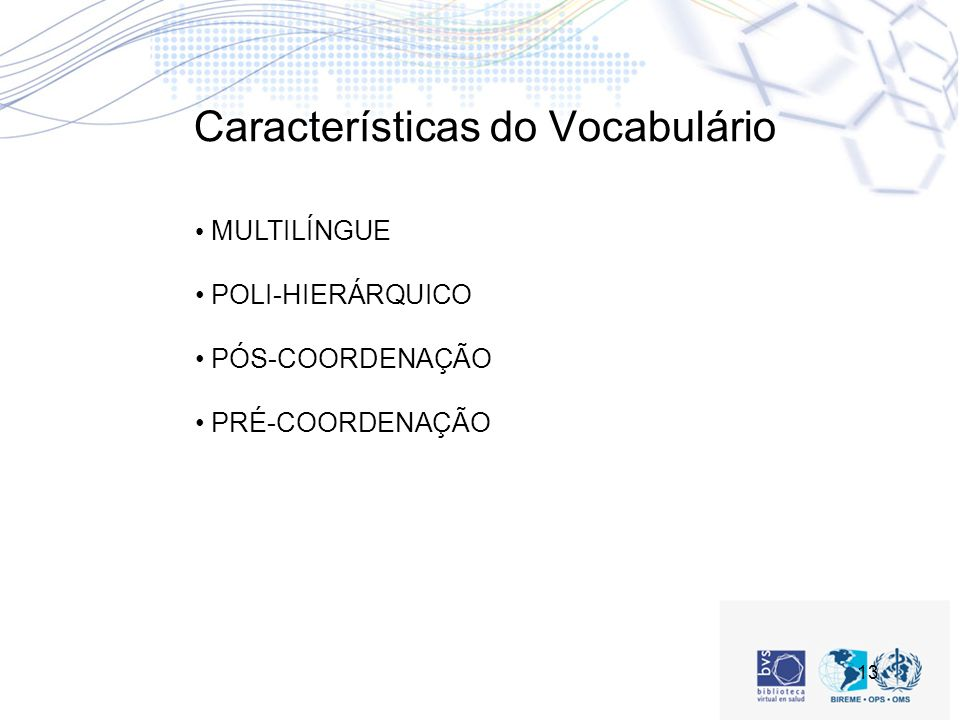 Características do Vocabulário
