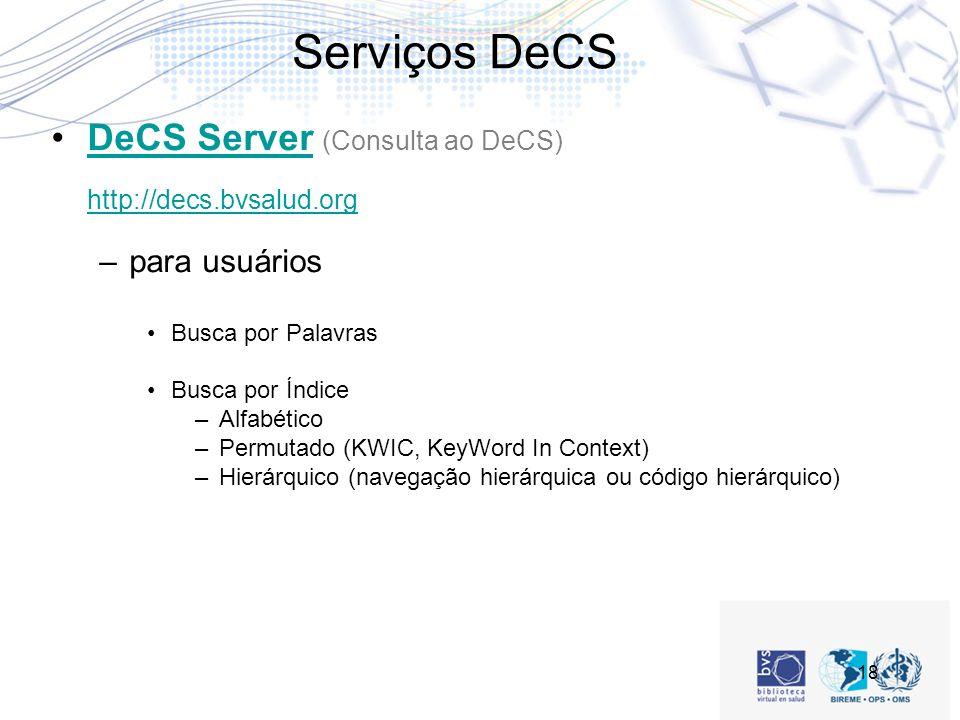 Serviços DeCS DeCS Server (Consulta ao DeCS) http://decs.bvsalud.org