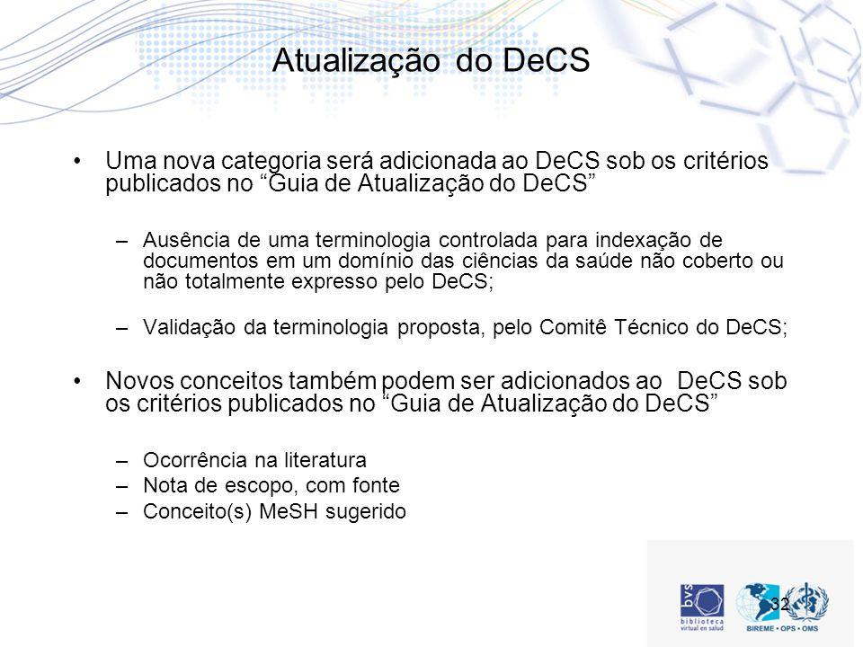 Atualização do DeCS Uma nova categoria será adicionada ao DeCS sob os critérios publicados no Guia de Atualização do DeCS