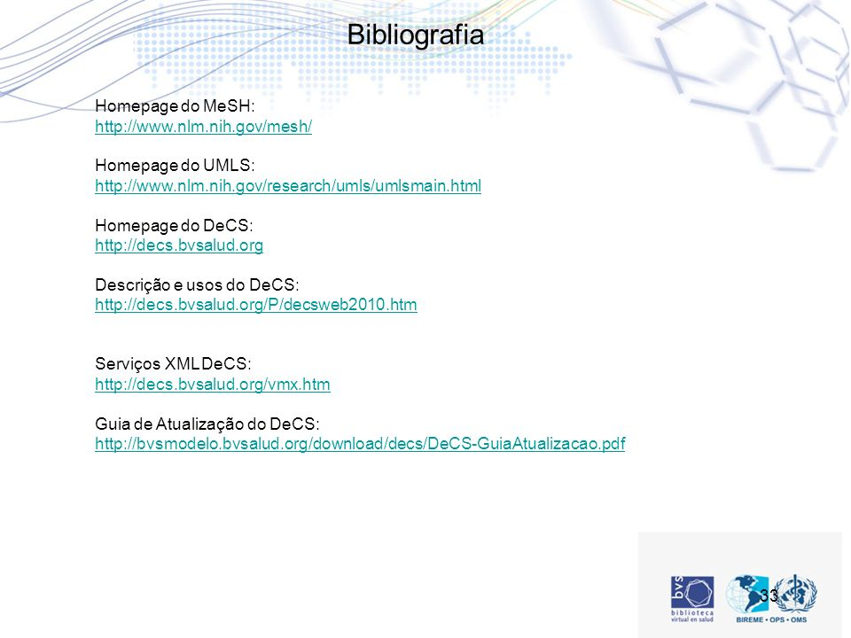 Bibliografia Homepage do MeSH: