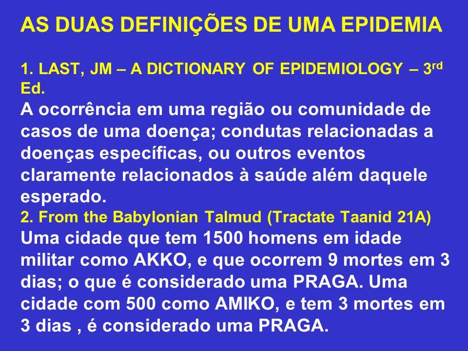 AS DUAS DEFINIÇÕES DE UMA EPIDEMIA 1