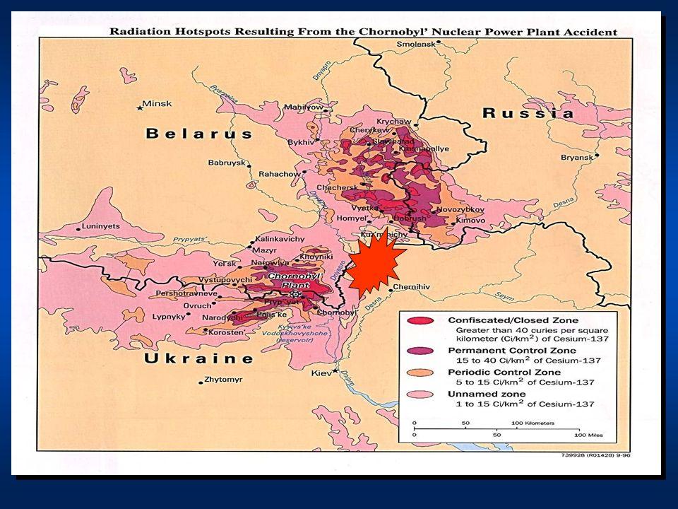 O maior acidente radioativo do qual se tem conhecimento ocorreu na Usina Nuclear de Chernobyl, na Ucrânia,em 26 de Abril de 1986. Mais de 600 000 pessoas foram incluídas em programas de descontaminação, das quais 200 000 Ucranianas. Os trabalhos prosseguiram até 1990. A contaminação radioativa por Césio 137 estendeu-se nos territórios da Ucrânia, Bielorússia e Rússia, sendo a intensidade da contaminação mostrada no mapa ao lado.