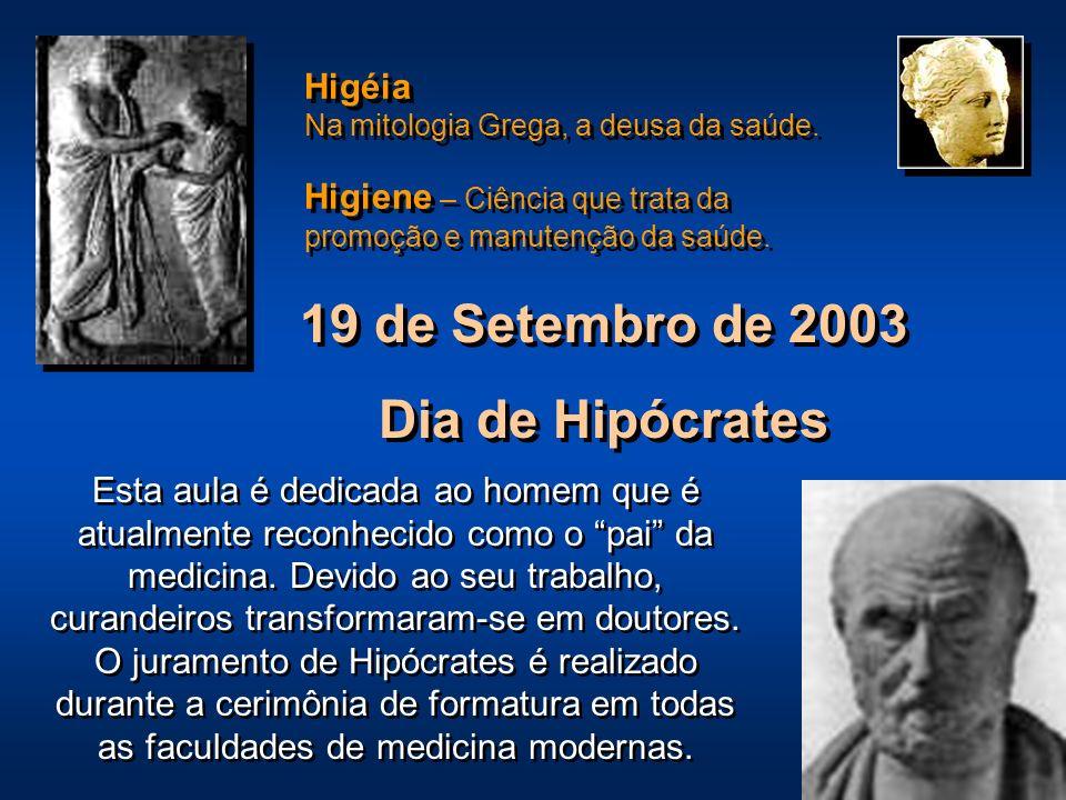 19 de Setembro de 2003 Dia de Hipócrates