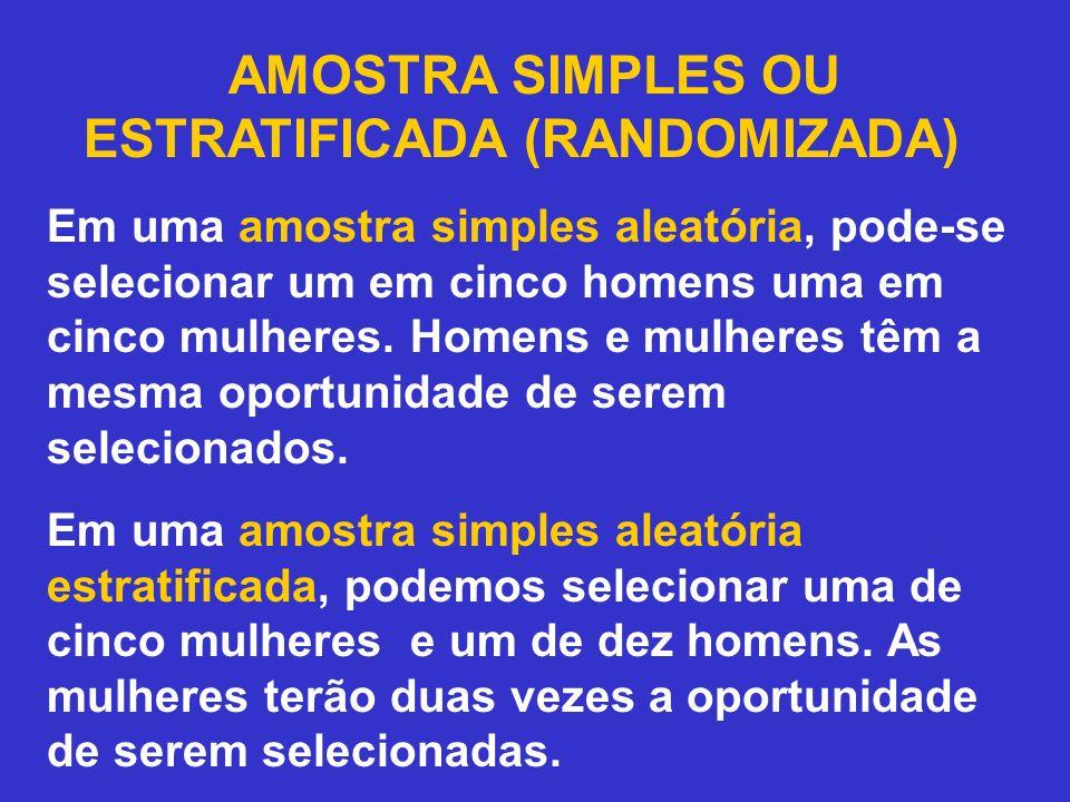AMOSTRA SIMPLES OU ESTRATIFICADA (RANDOMIZADA)