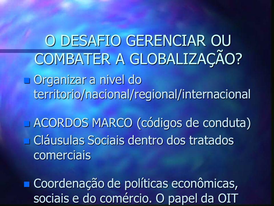 O DESAFIO GERENCIAR OU COMBATER A GLOBALIZAÇÃO