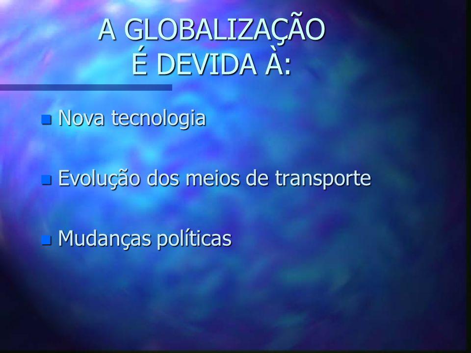 A GLOBALIZAÇÃO É DEVIDA À: