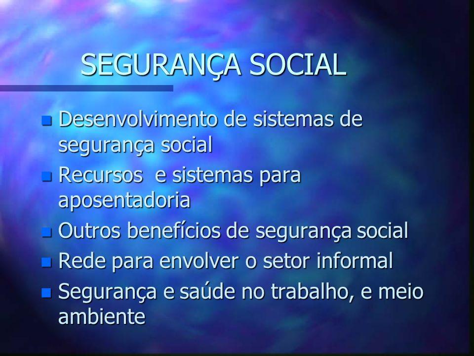 SEGURANÇA SOCIAL Desenvolvimento de sistemas de segurança social