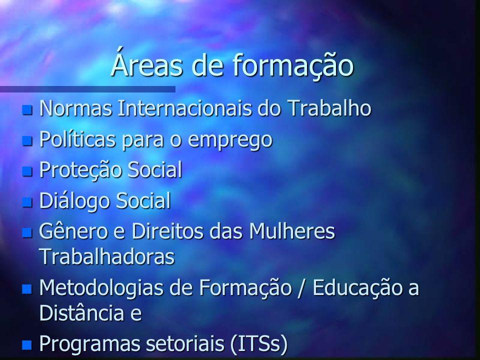 Áreas de formação Normas Internacionais do Trabalho