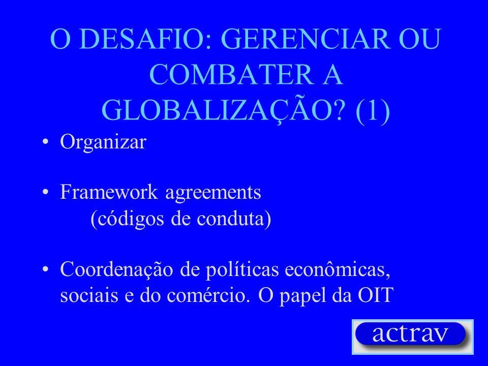 O DESAFIO: GERENCIAR OU COMBATER A GLOBALIZAÇÃO (1)
