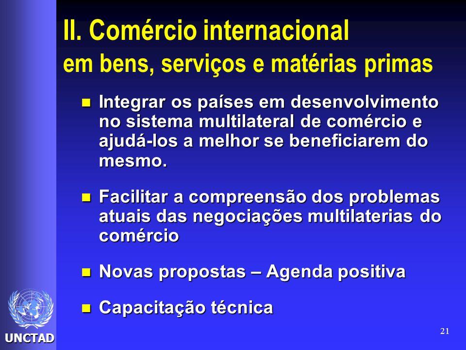 II. Comércio internacional em bens, serviços e matérias primas