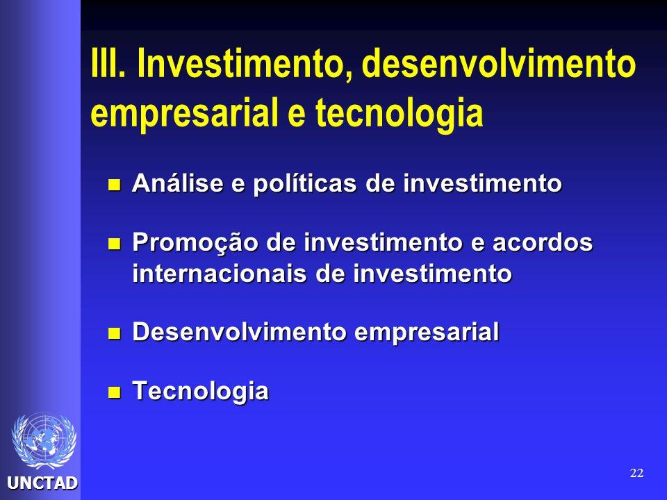 III. Investimento, desenvolvimento empresarial e tecnologia