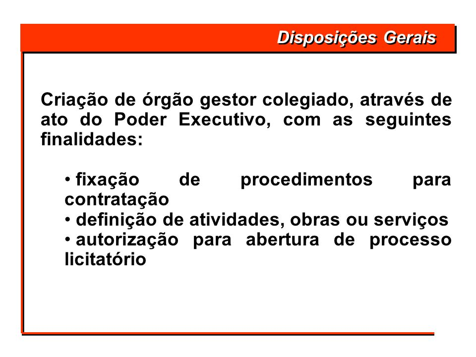 fixação de procedimentos para contratação