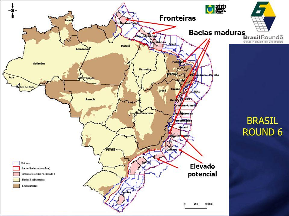Fronteiras Bacias maduras BRASIL ROUND 6 Elevado potencial