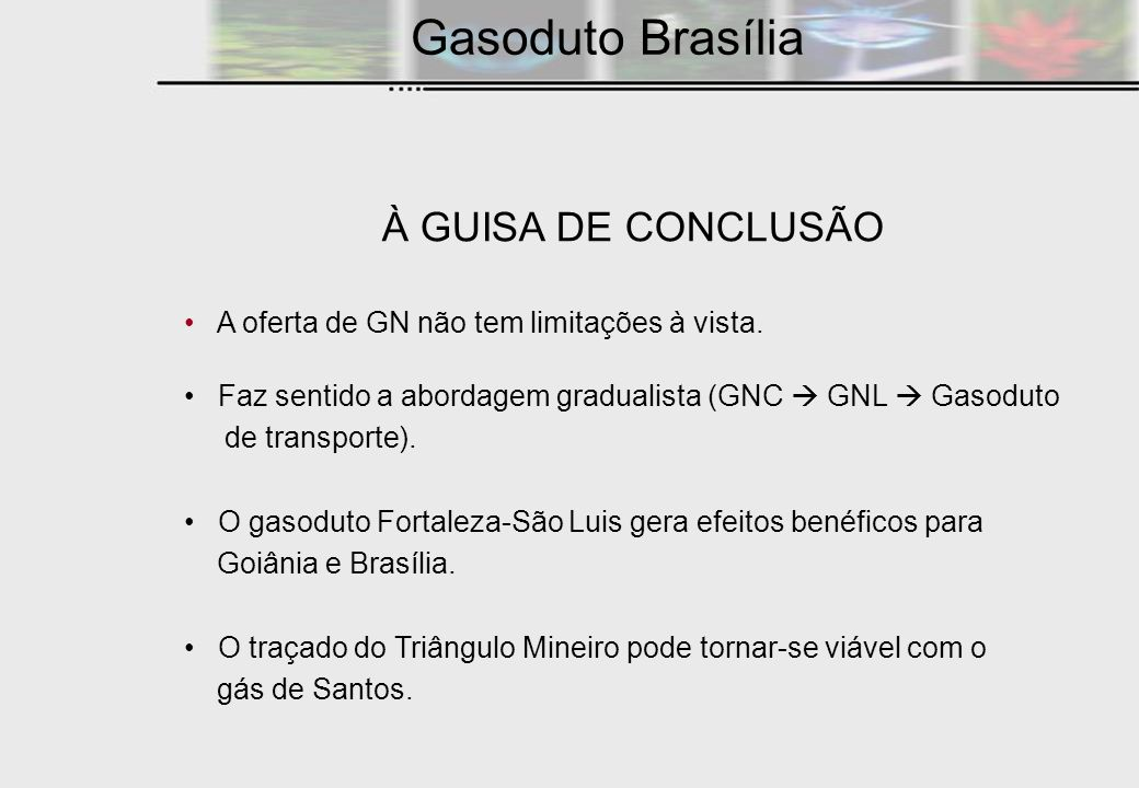 Gasoduto Brasília À GUISA DE CONCLUSÃO