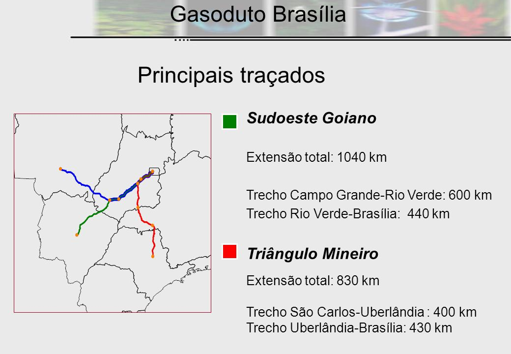 Gasoduto Brasília Principais traçados Sudoeste Goiano