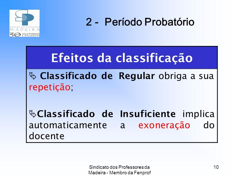 Efeitos da classificação