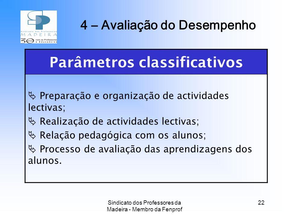 4 – Avaliação do Desempenho Parâmetros classificativos