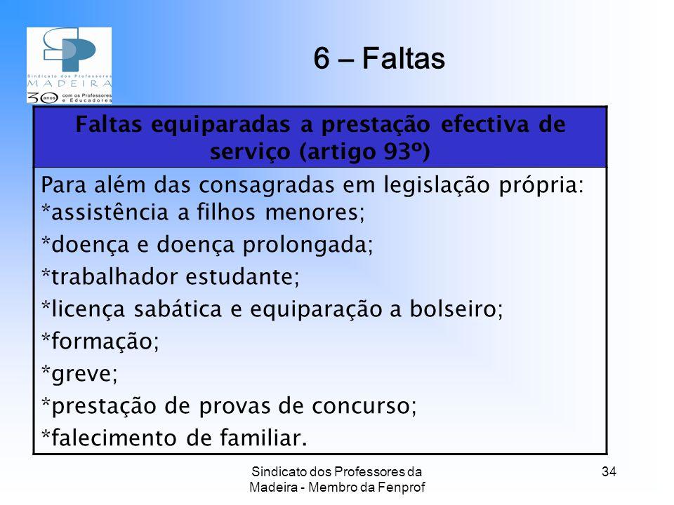 6 – Faltas Faltas equiparadas a prestação efectiva de serviço (artigo 93º)
