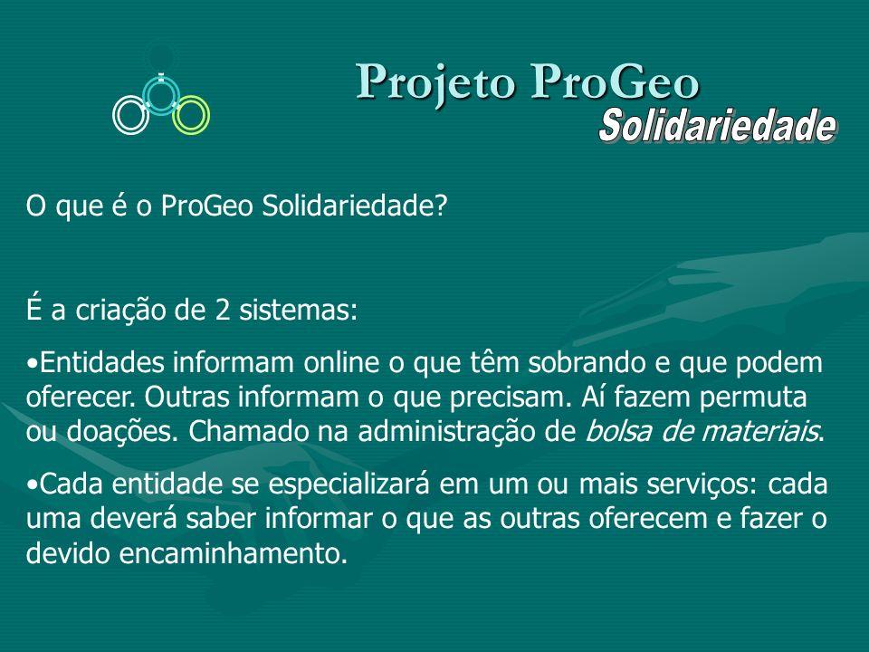 Projeto ProGeo Solidariedade O que é o ProGeo Solidariedade
