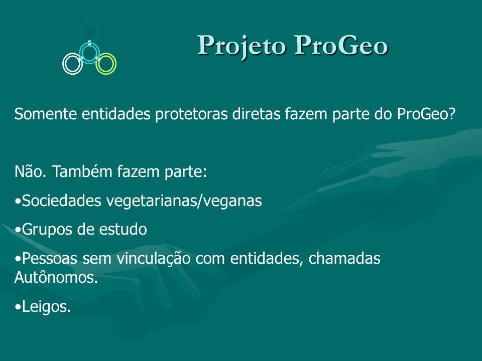 Projeto ProGeo Somente entidades protetoras diretas fazem parte do ProGeo Não. Também fazem parte: