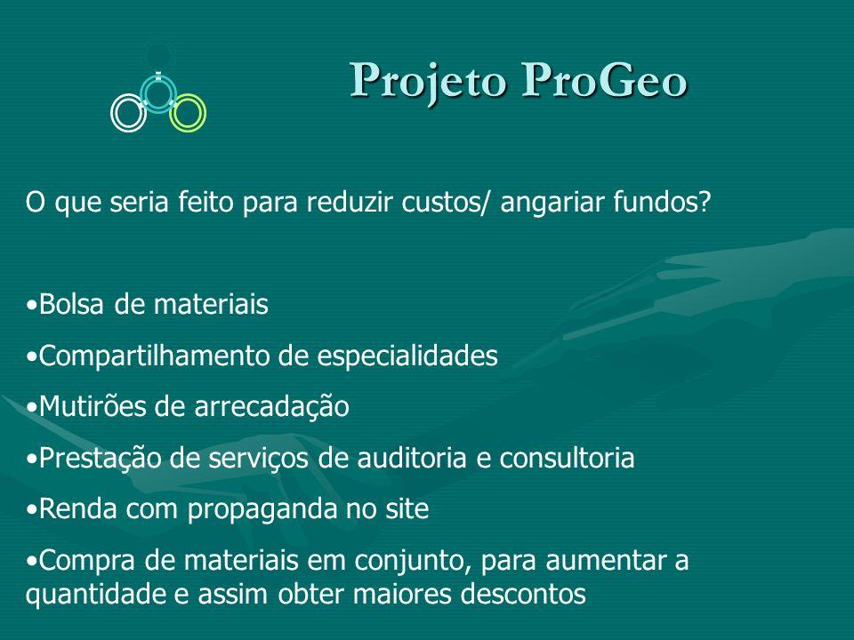 Projeto ProGeo O que seria feito para reduzir custos/ angariar fundos