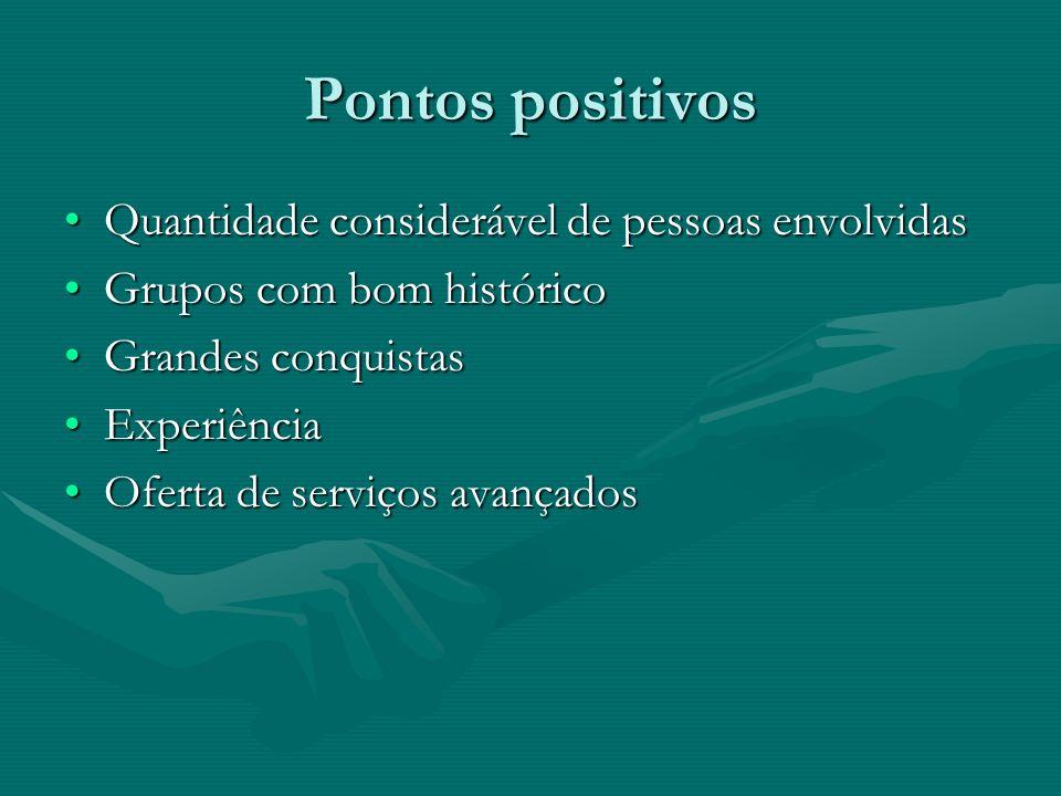 Pontos positivos Quantidade considerável de pessoas envolvidas