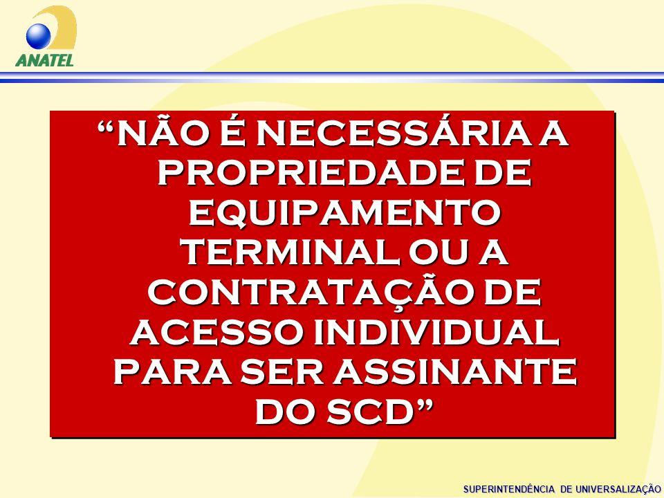 NÃO É NECESSÁRIA A PROPRIEDADE DE EQUIPAMENTO TERMINAL OU A CONTRATAÇÃO DE ACESSO INDIVIDUAL PARA SER ASSINANTE DO SCD