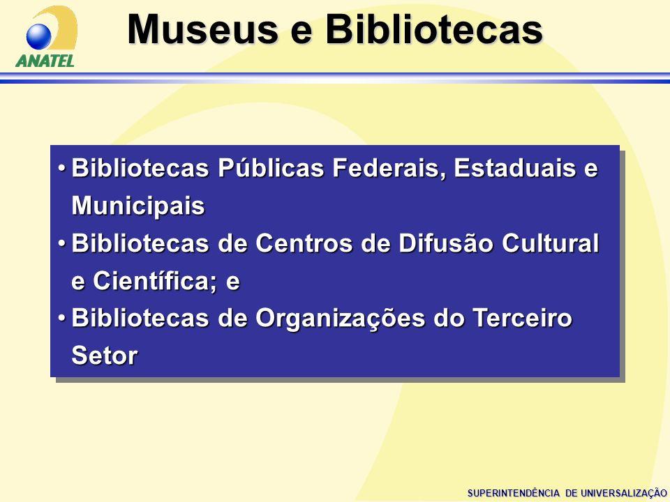Museus e BibliotecasBibliotecas Públicas Federais, Estaduais e Municipais. Bibliotecas de Centros de Difusão Cultural e Científica; e.