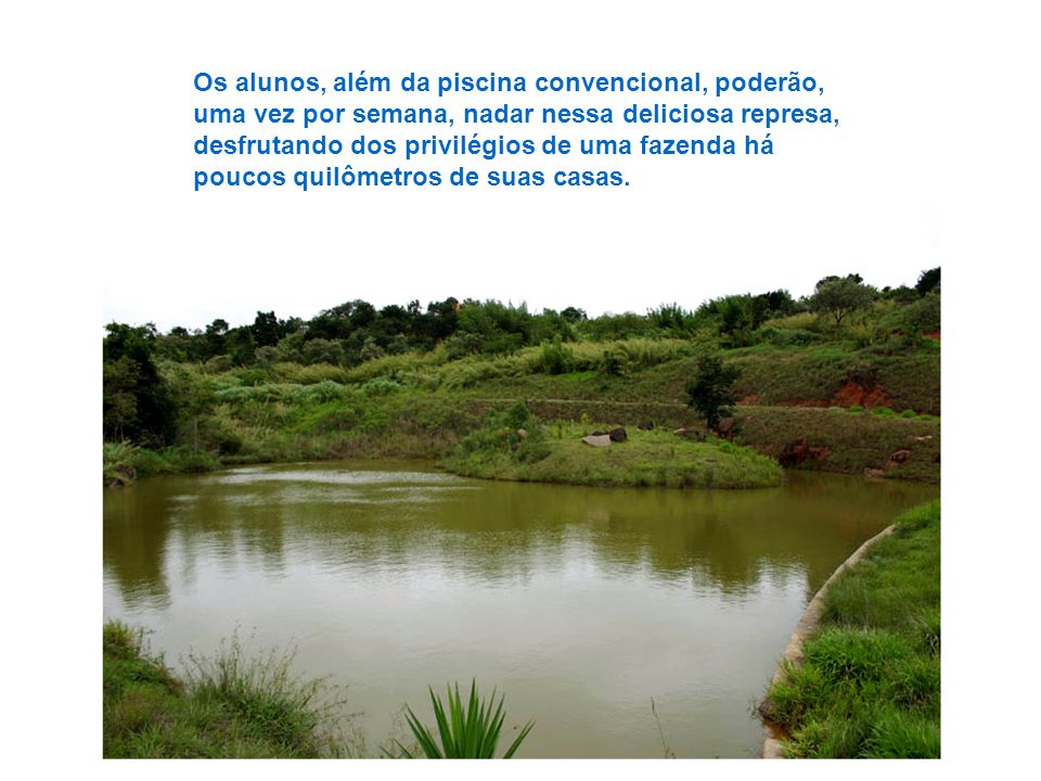 Os alunos, além da piscina convencional, poderão, uma vez por semana, nadar nessa deliciosa represa, desfrutando dos privilégios de uma fazenda há poucos quilômetros de suas casas.