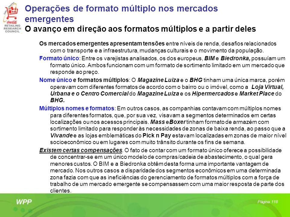 Operações de formato múltiplo nos mercados emergentes O avanço em direção aos formatos múltiplos e a partir deles
