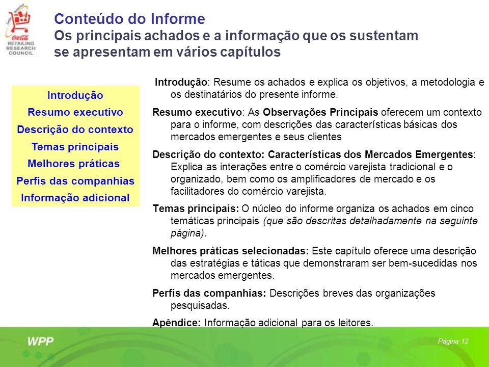 Conteúdo do Informe Os principais achados e a informação que os sustentam se apresentam em vários capítulos