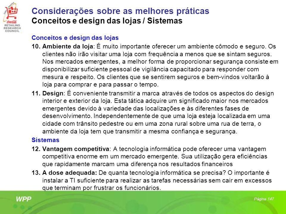 Considerações sobre as melhores práticas Conceitos e design das lojas / Sistemas
