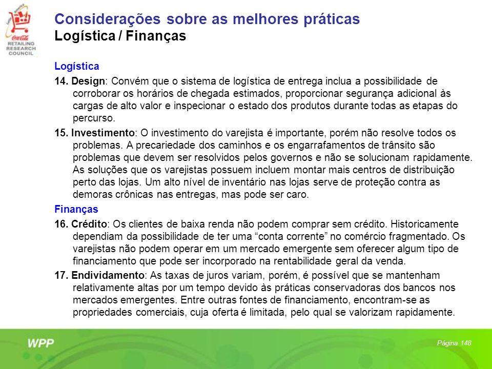Considerações sobre as melhores práticas Logística / Finanças