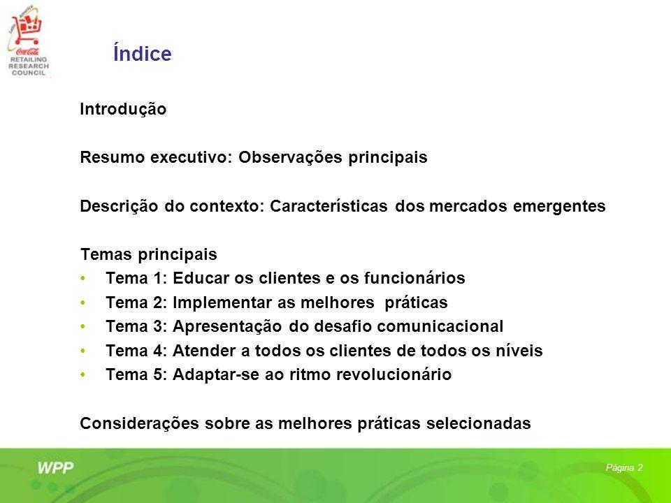 Índice Introdução Resumo executivo: Observações principais