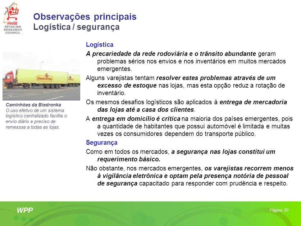 Observações principais Logística / segurança