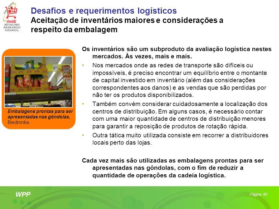 Desafios e requerimentos logísticos Aceitação de inventários maiores e considerações a respeito da embalagem