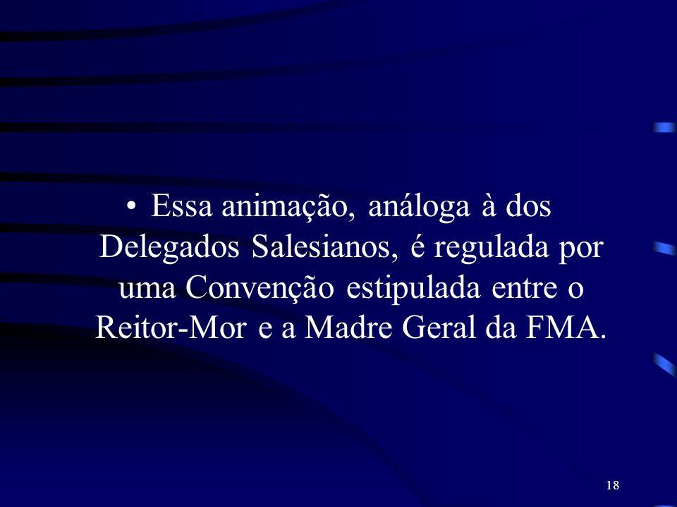 Essa animação, análoga à dos Delegados Salesianos, é regulada por uma Convenção estipulada entre o Reitor-Mor e a Madre Geral da FMA.