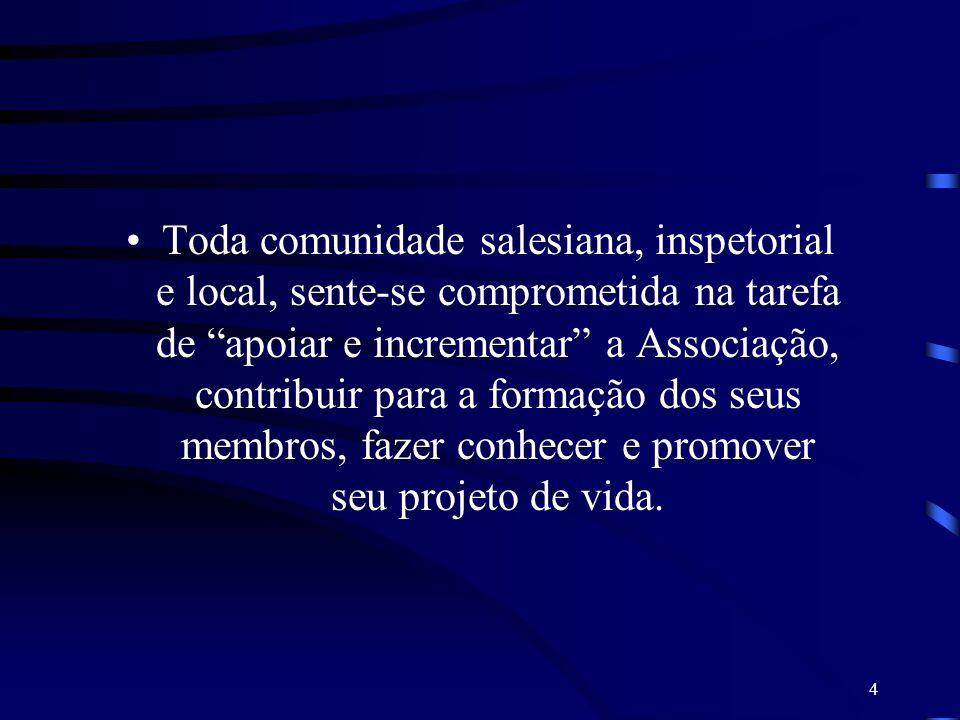 Toda comunidade salesiana, inspetorial e local, sente-se comprometida na tarefa de apoiar e incrementar a Associação, contribuir para a formação dos seus membros, fazer conhecer e promover seu projeto de vida.