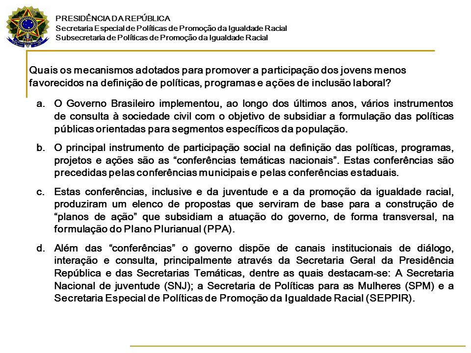 Quais os mecanismos adotados para promover a participação dos jovens menos favorecidos na definição de políticas, programas e ações de inclusão laboral