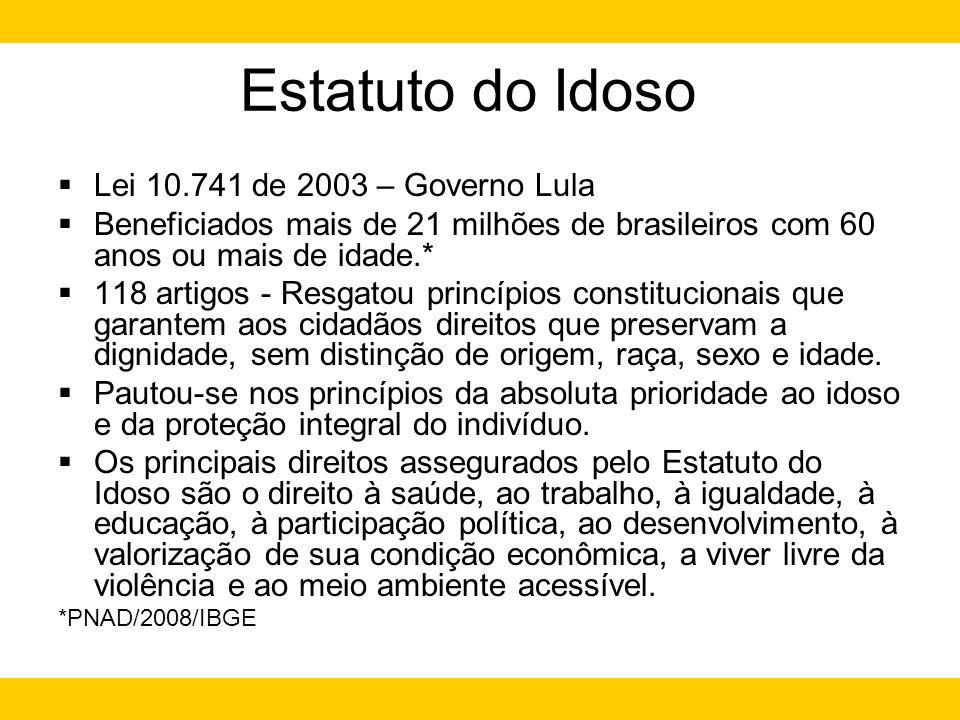 Estatuto do Idoso Lei 10.741 de 2003 – Governo Lula