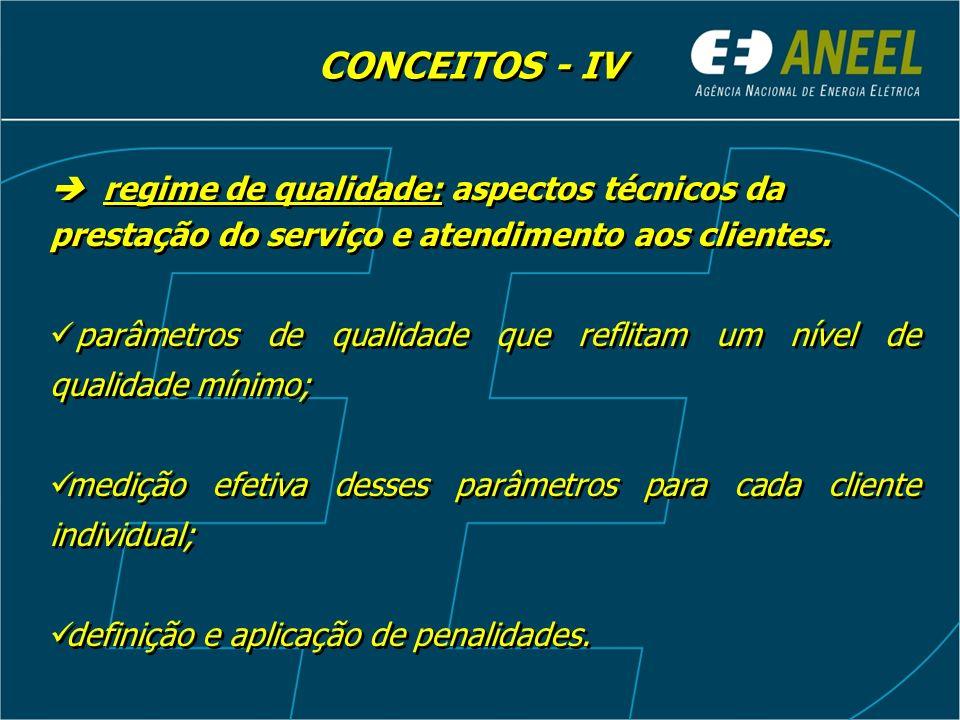CONCEITOS - IV  regime de qualidade: aspectos técnicos da prestação do serviço e atendimento aos clientes.