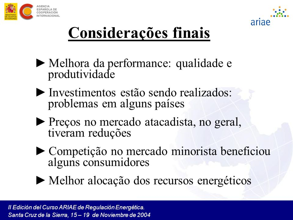 Considerações finais Melhora da performance: qualidade e produtividade