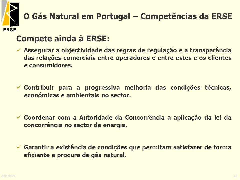 O Gás Natural em Portugal – Competências da ERSE