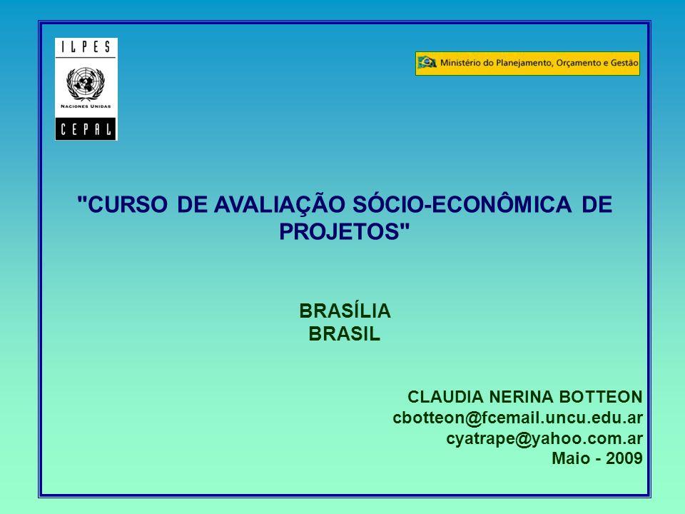 CURSO DE AVALIAÇÃO SÓCIO-ECONÔMICA DE PROJETOS