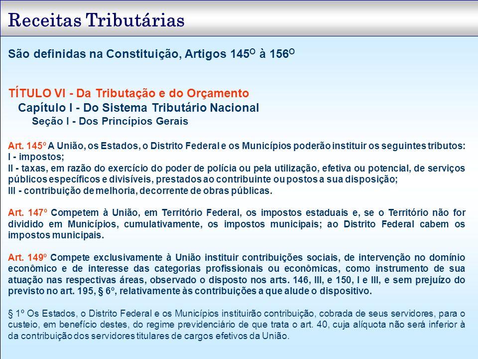 Receitas Tributárias São definidas na Constituição, Artigos 145O à 156O. TÍTULO VI - Da Tributação e do Orçamento.