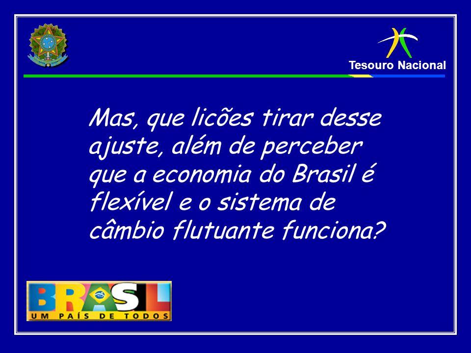 Mas, que licões tirar desse ajuste, além de perceber que a economia do Brasil é flexível e o sistema de câmbio flutuante funciona