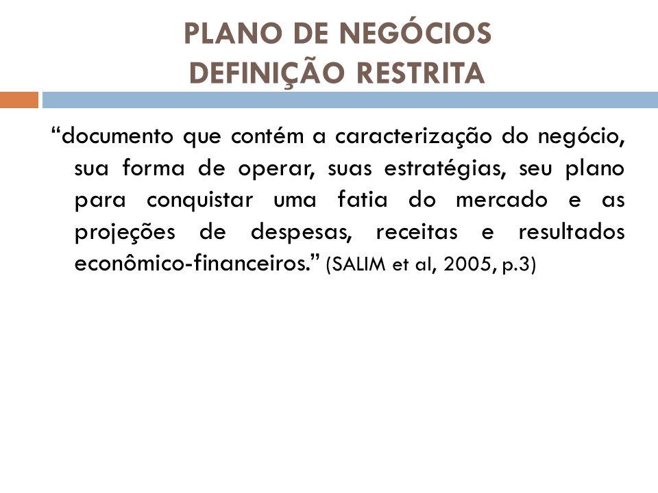 PLANO DE NEGÓCIOS DEFINIÇÃO RESTRITA