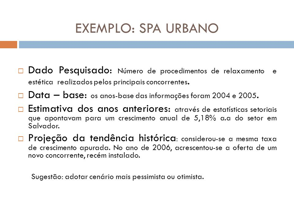 EXEMPLO: SPA URBANO Dado Pesquisado: Número de procedimentos de relaxamento e estética realizados pelos principais concorrentes.