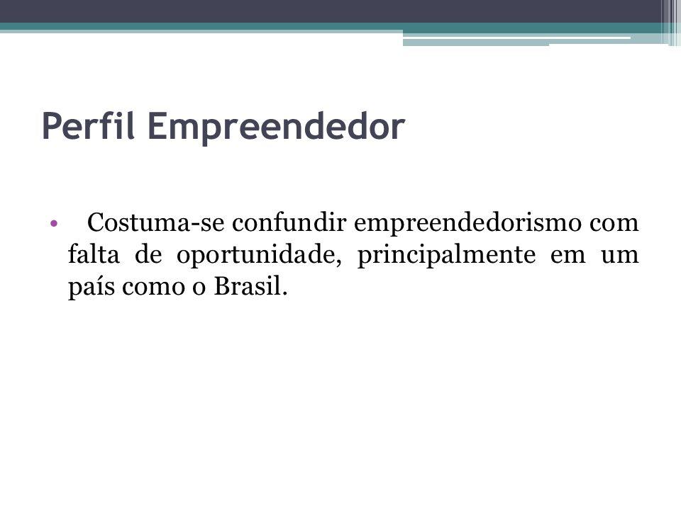 Perfil Empreendedor Costuma-se confundir empreendedorismo com falta de oportunidade, principalmente em um país como o Brasil.