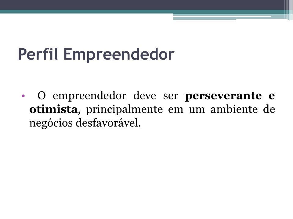 Perfil Empreendedor O empreendedor deve ser perseverante e otimista, principalmente em um ambiente de negócios desfavorável.